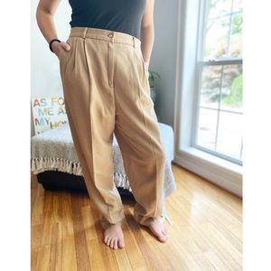 Vintage High Waist Pleated Wool Trouser Pants